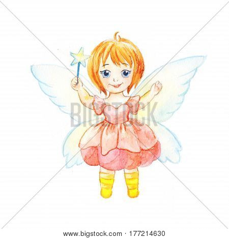 Girl in fairy costume. Character in a dress with wings and a magic wand. Illustration for a children's magazine coloring book or book