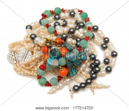 Many necklaces isolated on the white background