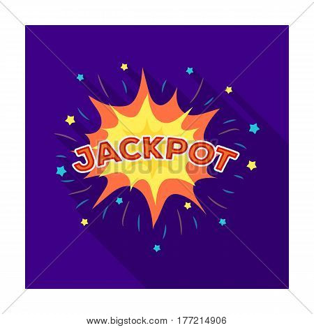 Jackpot, winnings at the casino. The greatest win in the game club.Kasino single icon in flat style vector symbol stock web illustration.