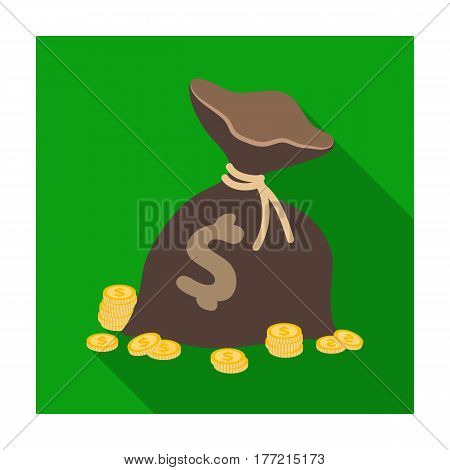 A brown bag with coins and dollars. Win in the casino.Kasino single icon in flat style vector symbol illustration.