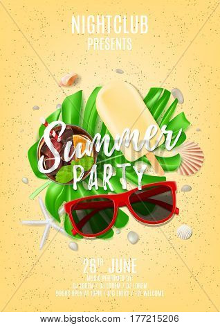 Summer party poster with place for text. Top view on composition with seashells, sun glasses, fresh cocktail, ice cream on sea sand. Vector illustration. Invitation to nightclub.