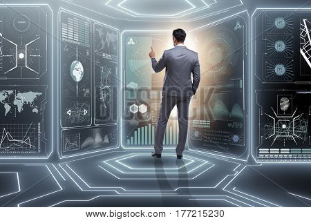 Man pressing virtual button in data mining concept