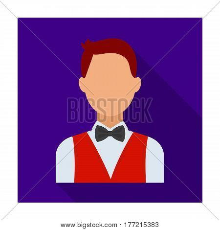 The man in a suit. The croupier, the person who follows the game in the casino.Kasino single icon in flat style vector symbol stock web illustration.