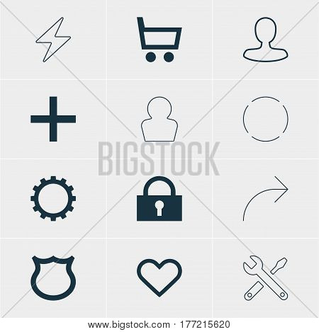 Vector Illustration Of 12 Member Icons. Editable Pack Of Bolt, Share, Cogwheel And Other Elements.