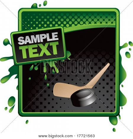 hockey stick and puck green and black halftone grungy ad