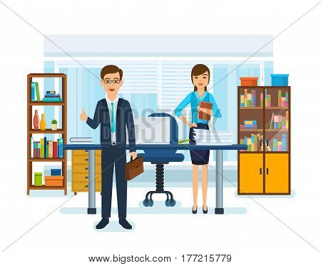 A girl in strict work clothes with documents in her hands, at the desk, next to the boss with a briefcase in her hands. Teamwork and partnership between employees. Vector illustration.