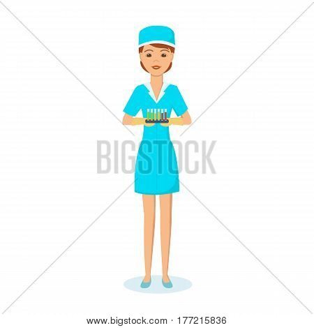 A medical worker modern system healthcare in work clothes, holds test tubes with patient analyzes and chemicals. Vector illustration isolated on white background.