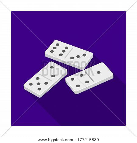 Dominoes for playing in the casino. Gambling for money.Kasino single icon in flat style vector symbol stock web illustration.
