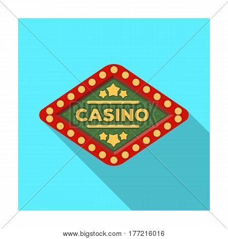 The emblem of the playing club with the inscription of the casino.Kasino single icon in flat style vector symbol stock web illustration.