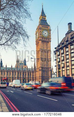 Traffic near Big Ben in London, UK