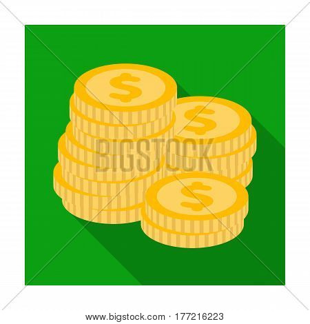 A pile of coins for reckoning in a casino. Gambling.Kasino single icon in flat style vector symbol stock web illustration.