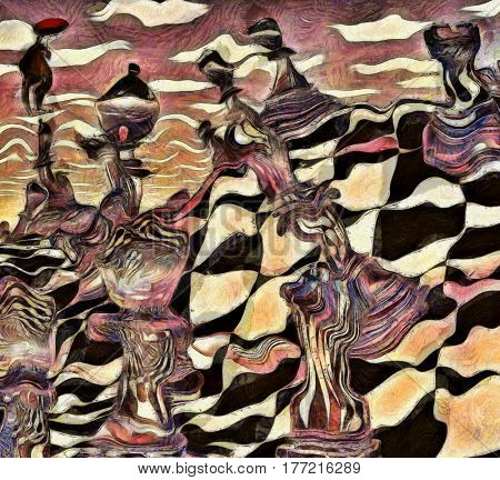 Abstract painting. Chess figures on a chessboard. Man flies with red umbrella. Vincent Van Gogh style.   3d render.