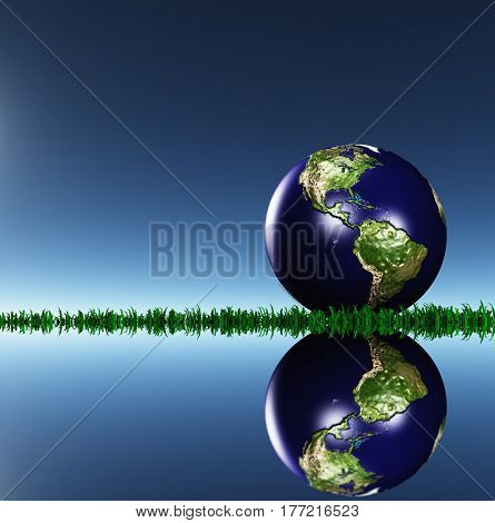 Globe with north and south Americas on grass.   3d render.   Some elements provided courtesy of NASA