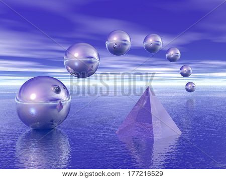 Pyramid and spheres above water.   3d render.