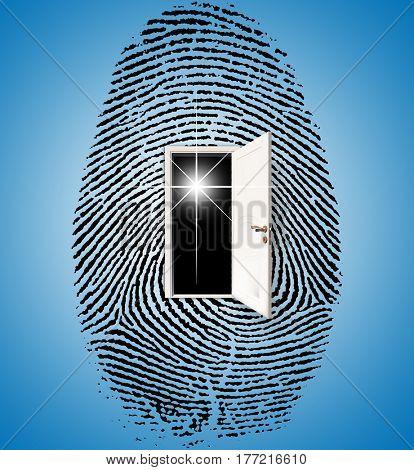 Surrealism. Fingerprint with opened.   3d render.