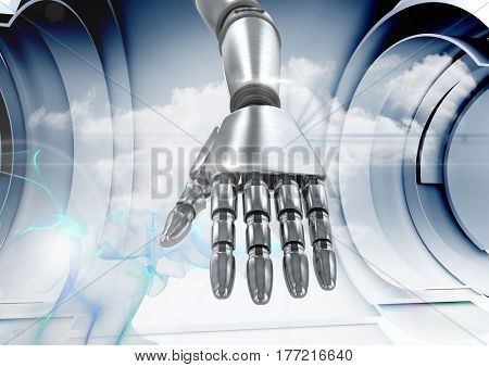 Digital composite of Composite Image of a robotic hand against a grey background