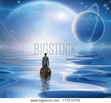 Man in boat floats to bright horizon.   3d render.