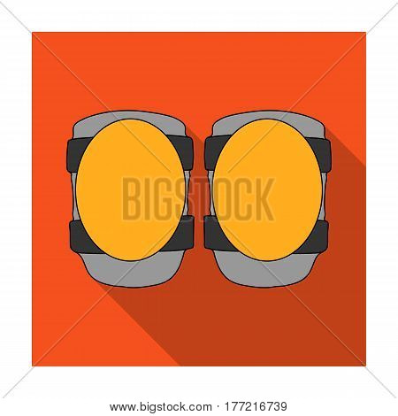 Protective knee pads for cyclists. Protection for athletes.Cyclist outfit single icon in flat style vector symbol stock web illustration.