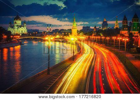 Traffic in night Moscow near Kremlin