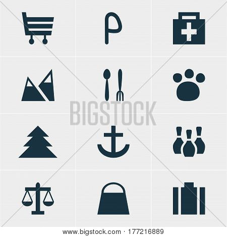 Vector Illustration Of 12 Location Icons. Editable Pack Of Pet Shop, Cafe, Drugstore And Other Elements.