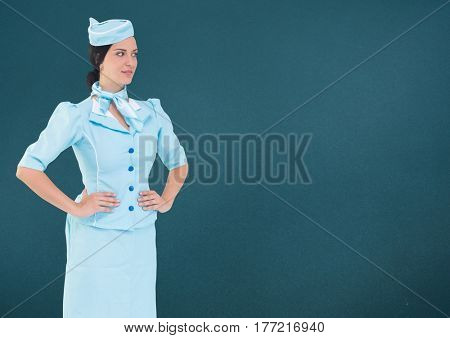Digital composite of Travel agent standing against a green background
