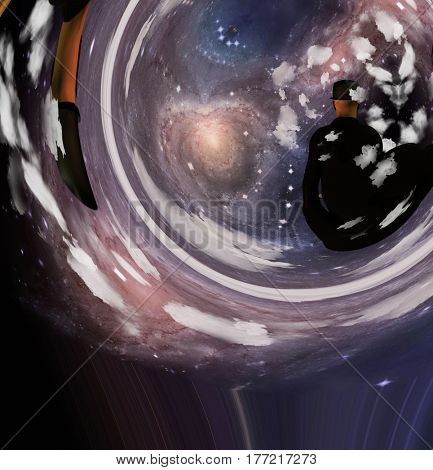 Man at the event horizon.    3D Render  Some elements provided courtesy of NASA