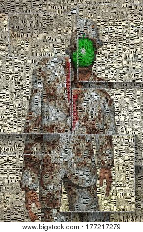 Man in bowler with green apple instead of his face. Words.    3D Render   Image composed entirely of words, text