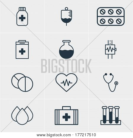 Vector Illustration Of 12 Health Icons. Editable Pack Of Pulse, Antibody, Heartbeat And Other Elements.