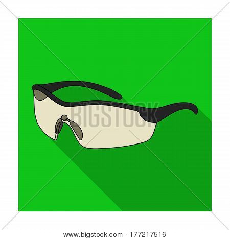 Protection for the eyes of cyclists from falling rocks.Cyclist outfit single icon in flat style vector symbol stock web illustration.