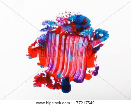 Modern creative abstract art, colorful painting. Mix of bright blue and red colors smudged on white background. Abstractionism.