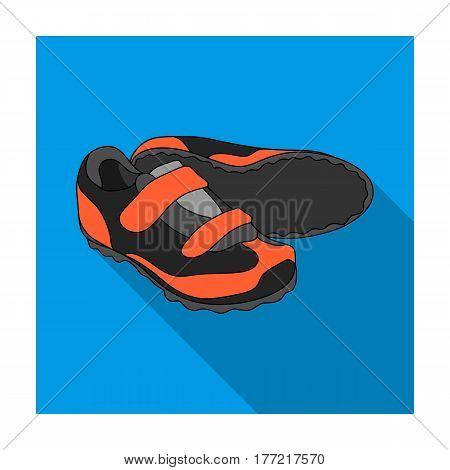 Shoes for cyclists. Special cycling for cycling.Cyclist outfit single icon in flat style vector symbol stock web illustration.
