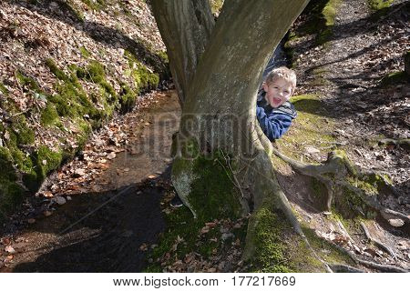 Small boy in the brook, kneels behind a tree and laughs forwards