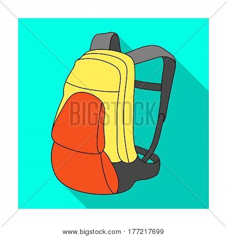 A portfolio of bicycles for carrying things behind.Cyclist outfit single icon in flat style vector symbol stock web illustration.