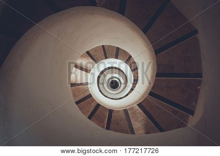 Circle spiral staircase - geometrical concept, gorizontal, wide angle