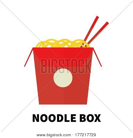 Colorful flat/cartoon design noodle box icon. Vector illustration isolated on a white background. Snakes junk element or symbol for web and mobile applications or advertising.