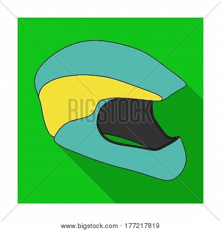 Protective helmet for cyclists. Protection for the head athletes.Cyclist outfit single icon in flat style vector symbol stock web illustration.