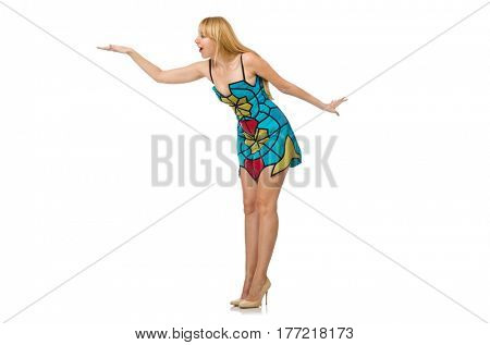 Nice woman model isolated on the white background