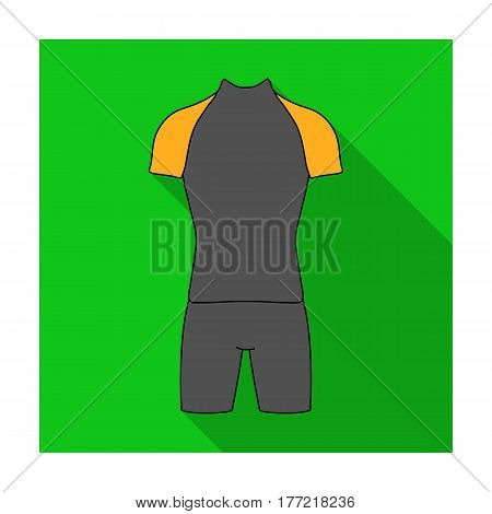 A cycling suit for riding a bicycle. Clothes cycling.Cyclist outfit single icon in flat style vector symbol stock web illustration.