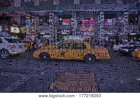NYC Cab and city. Words.    3D Render   Image composed entirely of words, text