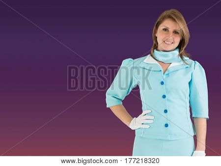 Digital composite of Travel agent smiling at camera against a purple background