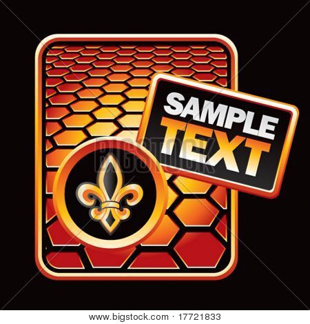fleur de lis orange hexagon advertisement