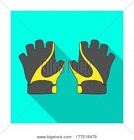 Bike hand gloves for cyclists. Protective equipment for athletes.Cyclist outfit single icon in flat style vector symbol stock web illustration.