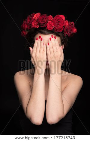 Woman With Roses Wreath On Head