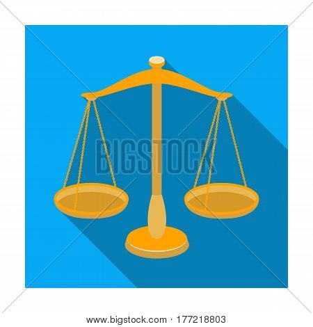 Scales for jewelry. Weights for measuring punishment.Prison single icon in flat style vector symbol stock web illustration.