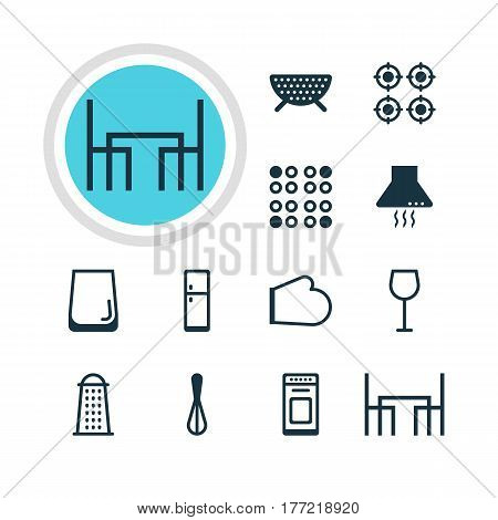 Vector Illustration Of 12 Kitchenware Icons. Editable Pack Of Refrigerator, Slicer, Cooker And Other Elements.