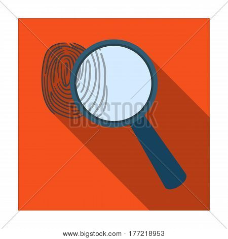 Magnifier and fingerprint. Detection of criminals by fingerprint.Prison single icon in flat style vector symbol stock web illustration.