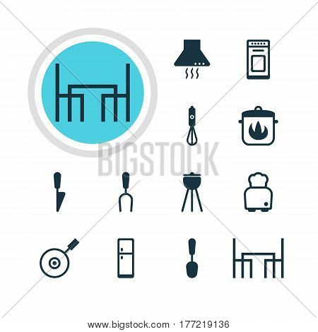 Vector Illustration Of 12 Kitchenware Icons. Editable Pack Of Handmixer, Dinner Table, Tablespoon Elements.