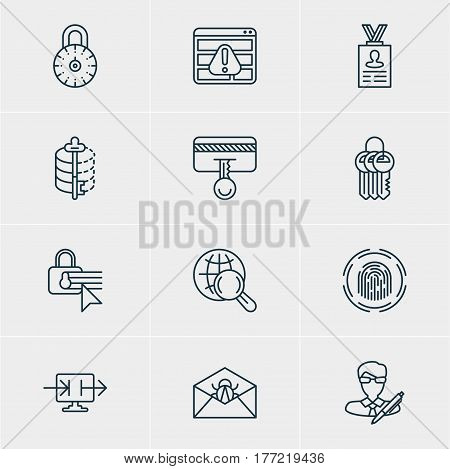 Vector Illustration Of 12 Web Safety Icons. Editable Pack Of Encoder, Copyright, Safe Lock And Other Elements.