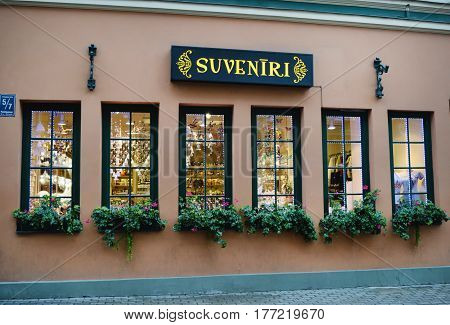 Riga Latvia - 3 November 2016: In Riga many stores located in historic buildings.