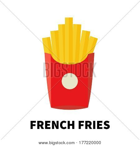 Colorful flat/cartoon design french fries icon. Vector illustration isolated on a white background. Snakes junk element or symbol for web and mobile applications or advertising.